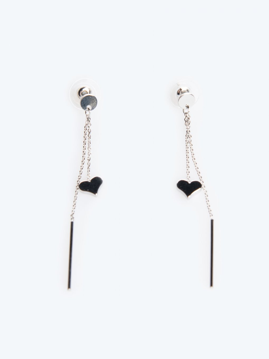 Long drop earrings with heart pendant