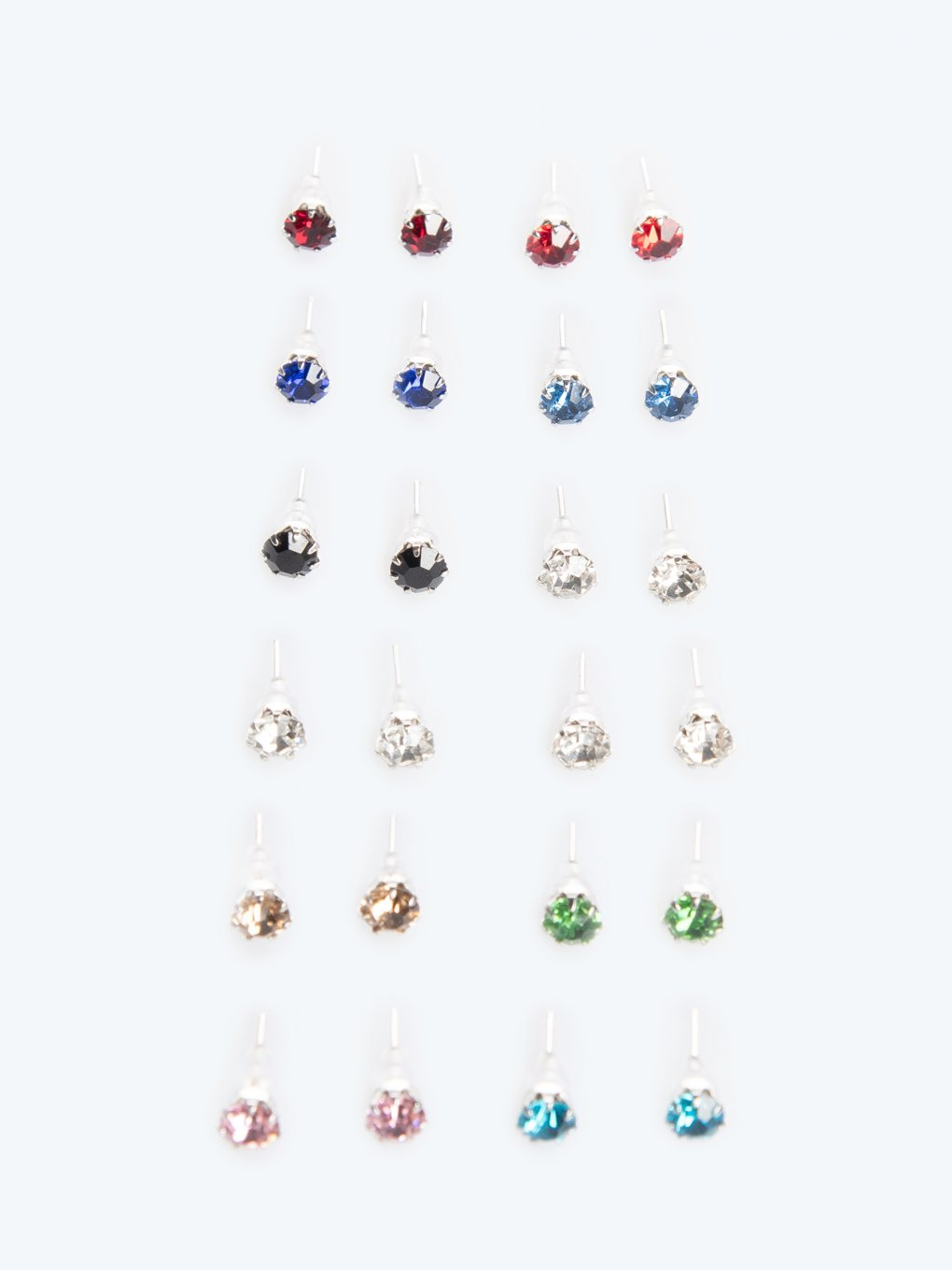 12-pack colourful faux stone earrings