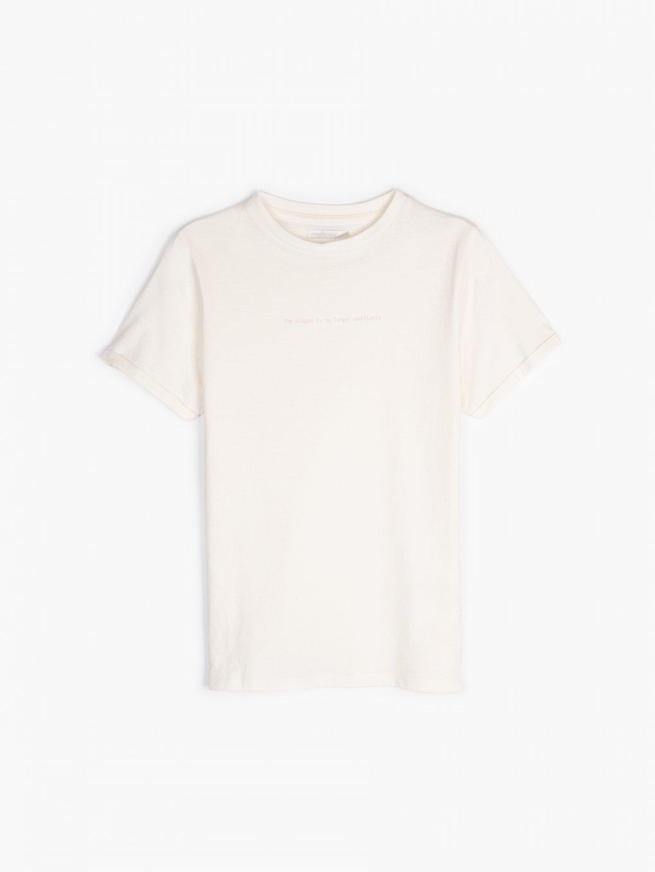 Cotton slogan print t-shirt