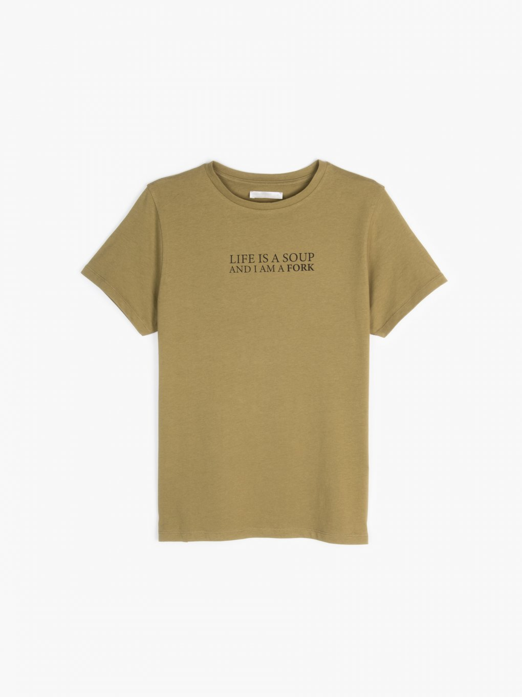 Cotton slogan print t-shirt