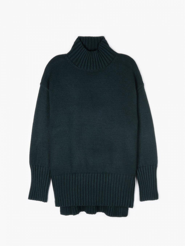 Pletený pulóver s vysokým golierom