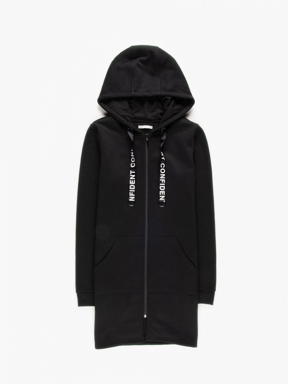 Longline zip-up hoodie with slogan print hood lace