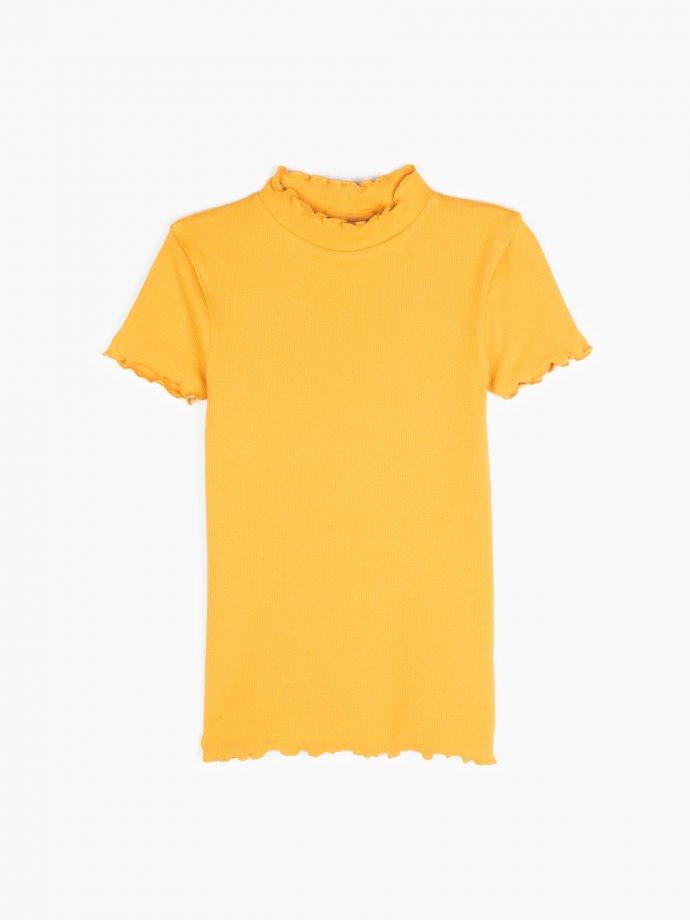 Basic ribbed high neck t-shirt