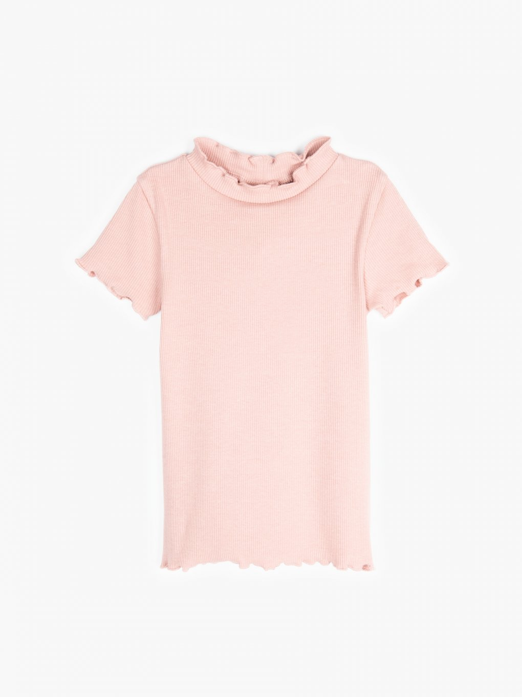 Basic ribbed high neck t-shirt