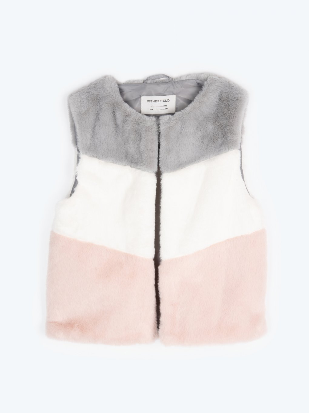 Faux fur colour block vest