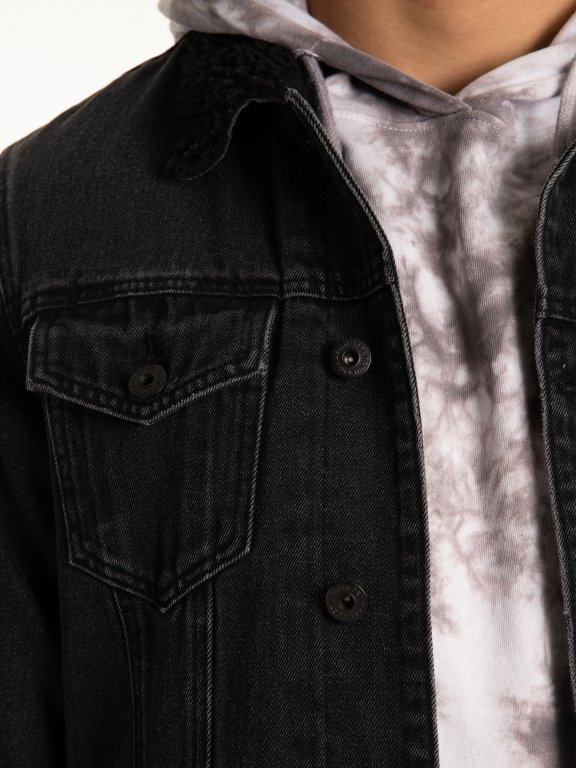 Pile lined denim jacket