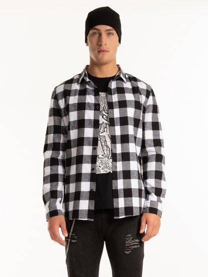 Plaid slim fit flannel shirt