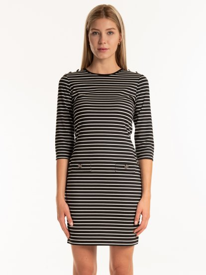 Striped dress with buttons