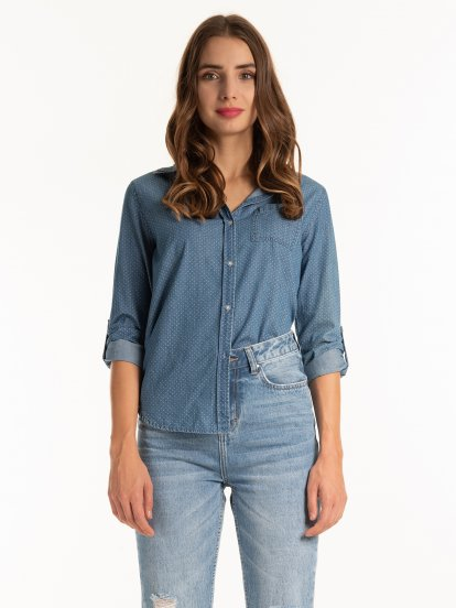 Denim look polka dot print shirt