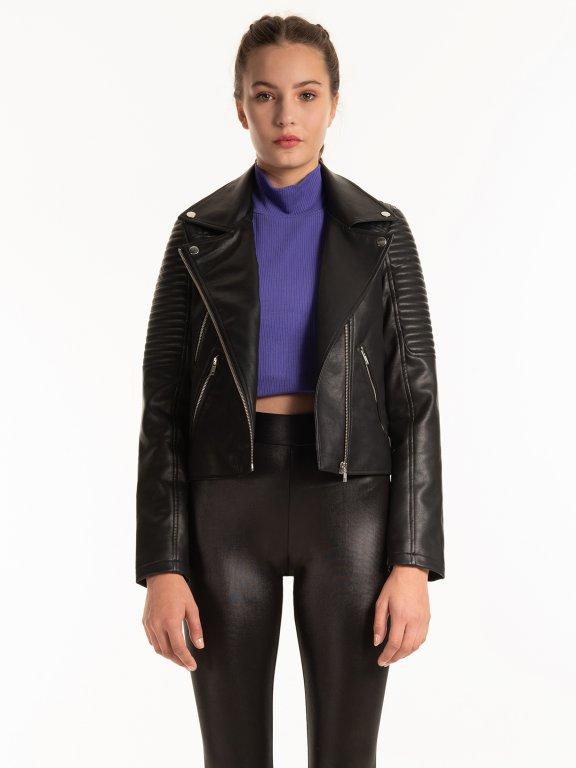 Motorkářská bunda z imitace kůže