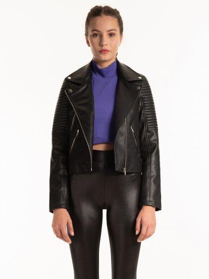 Motorkárska bunda z imitácie kože