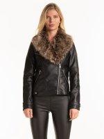Faux leather biker jacket with removable faux fur