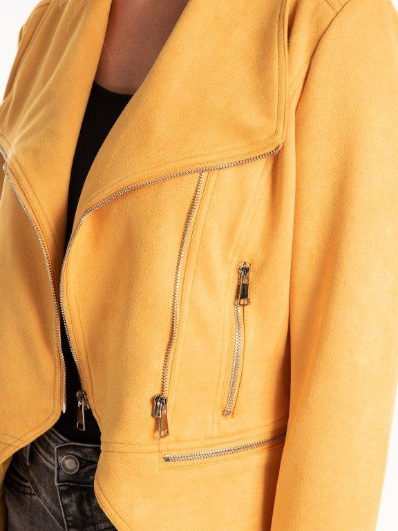 Motorkářská bunda z imitace semiše