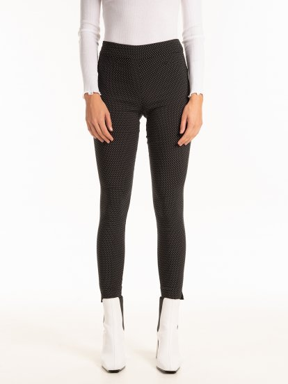 Polka dot print skinny trousers