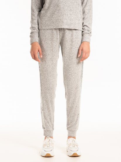 Marled sweatpants with sequins