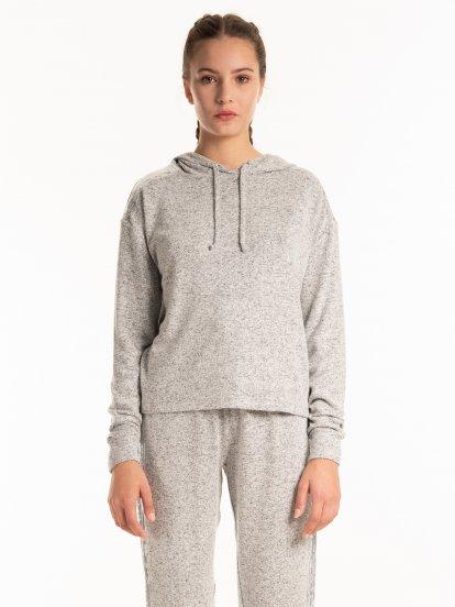 Marled hoodie with sequins