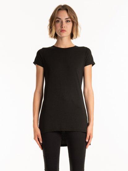 Základné predĺžené tričko s krátkym rukávom