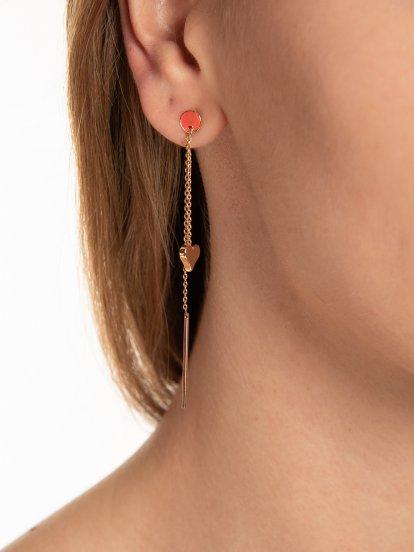 Long drop earrings with heart pendant