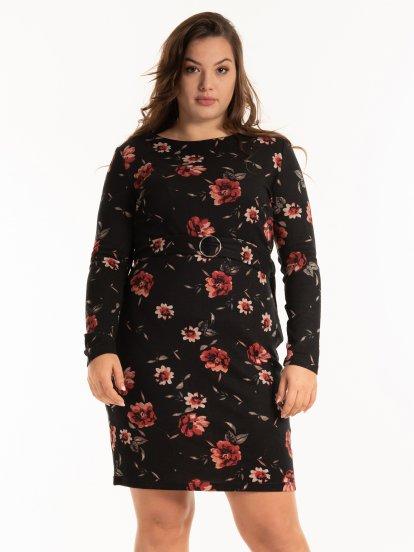 Šaty s květinovým potiskem a páskem