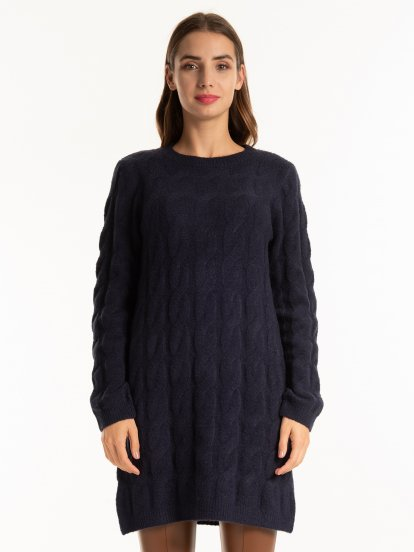 Longline cable-knit pullover