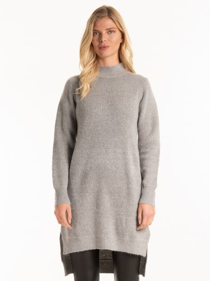 High collar longline jumper