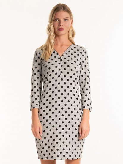 Polka dot print dress with zipper