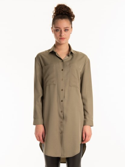 PREMIUM COLLECTION: Oversized loose-fit button down blouse