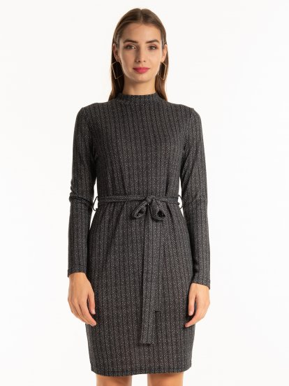 Herringbone print high neck dress with belt