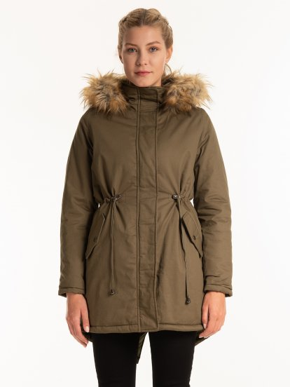 Cotton parka with faux fur