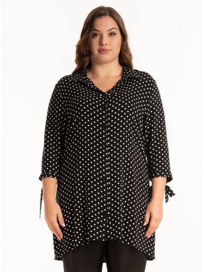 Longline polka dot print viscose blouse