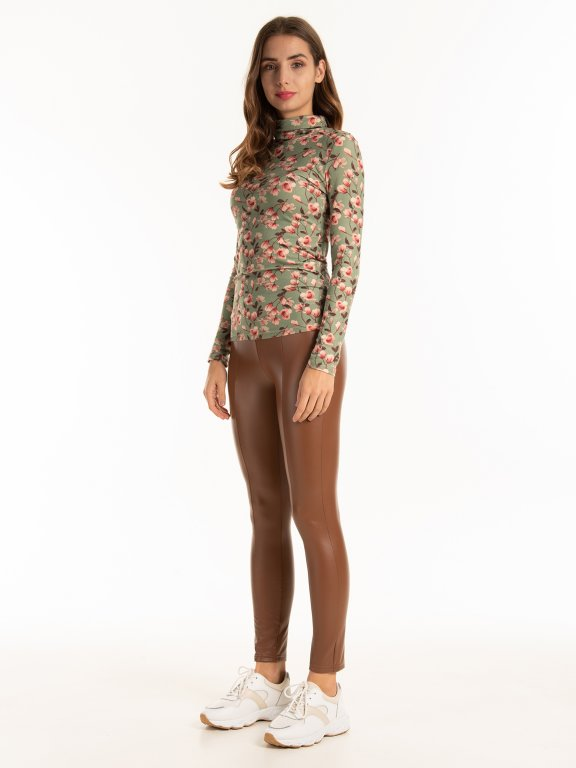 Turtleneck with floral print