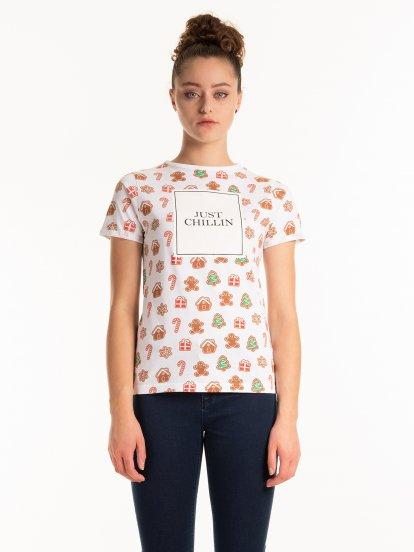 Bavlnené tričko s vianočným motívom