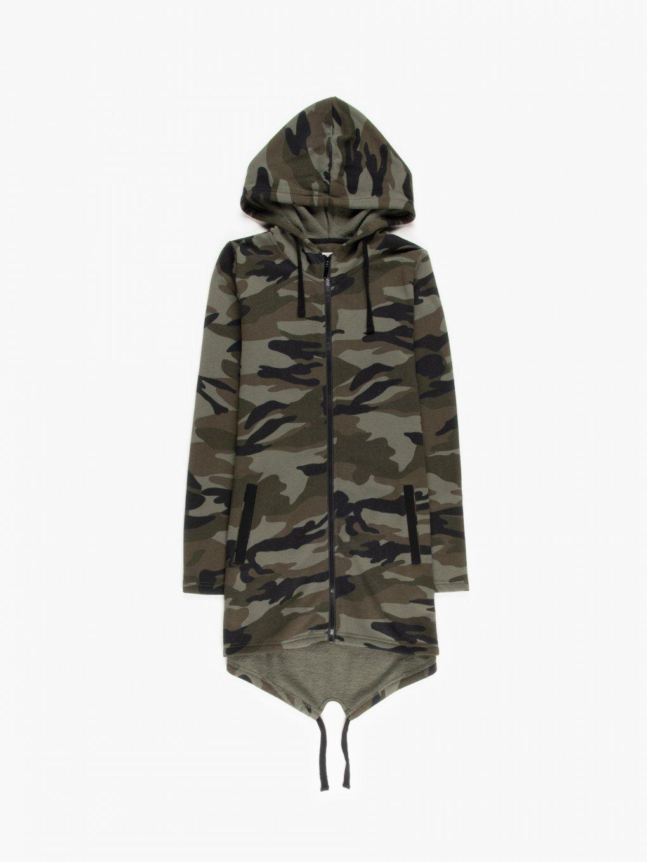 Longline zip-up camo print hoodie