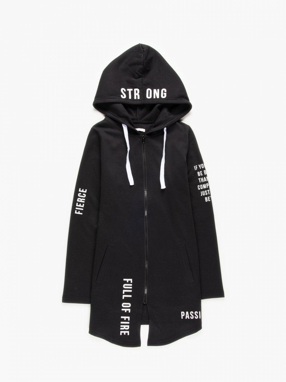 Slogan print longline zip-up hoodie