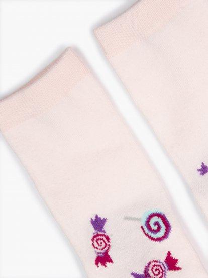 Candy pattern crew socks