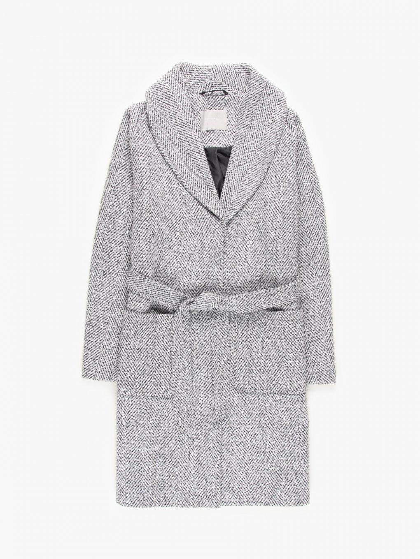 Herringbone coat with belt