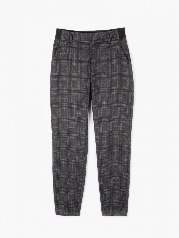Plaid straight slim trousers