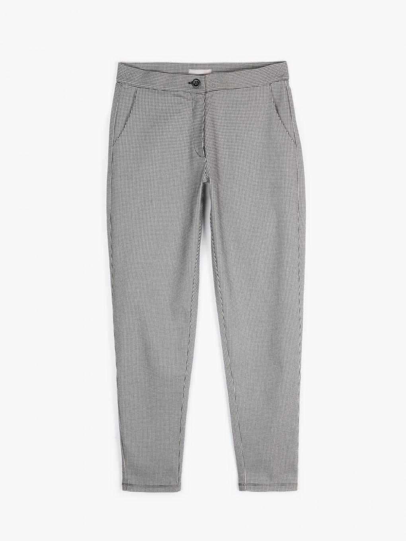 Elastické nohavice so vzorom kohútej stopy