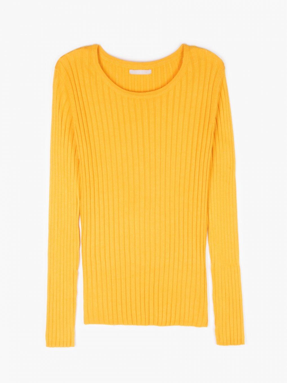 Jednoduchý žebrovaný pulovr