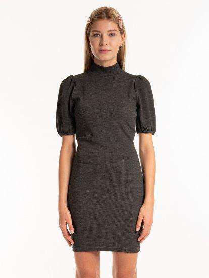 Ribbed puff sleeve bodycon dress
