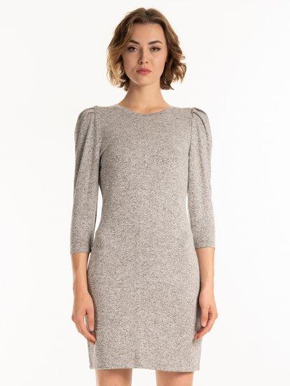 Melírované šaty s nabíraným rukávem