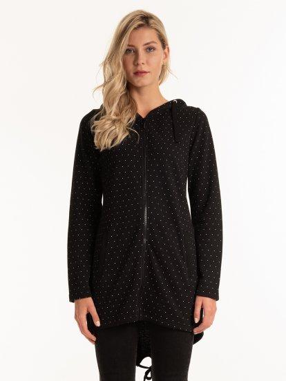 Polka dot print longline zip-up hoodie