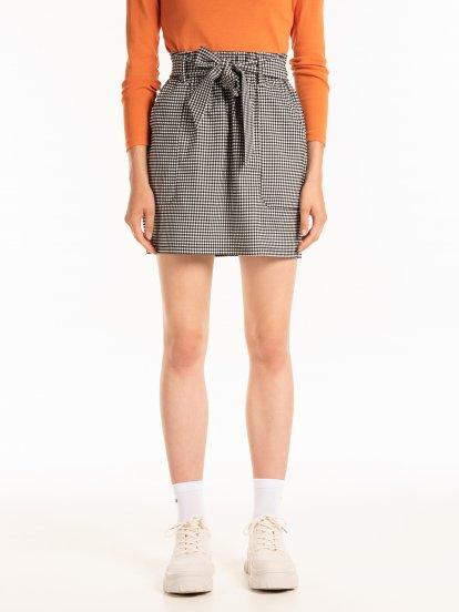 Paperbag gingham mini skirt