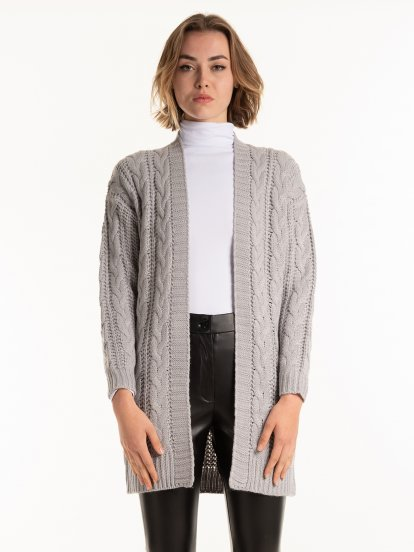 Longline cable-knit cardigan