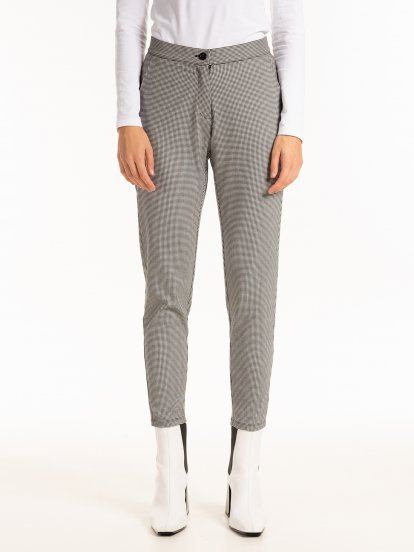 Straight slim houndstooth pattern trousers
