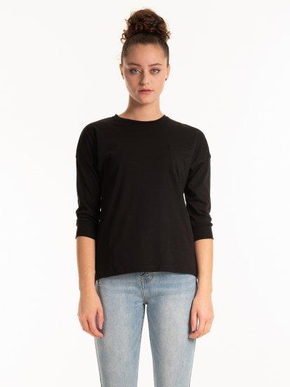 Základné bavlnené tričko s náprsným vreckom