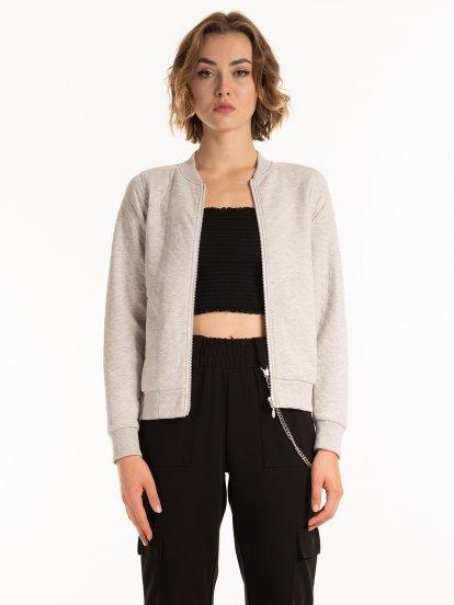 Quilted zip-up jacket