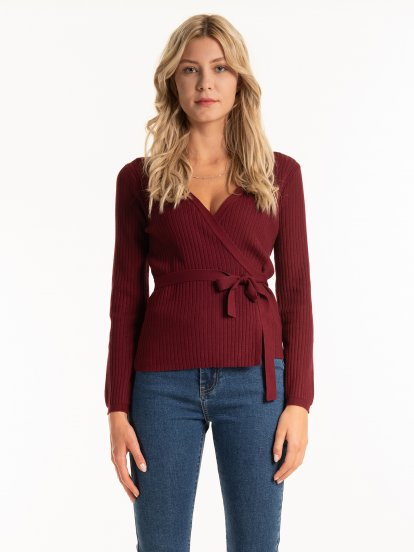 Ribbed wrap sweater with belt