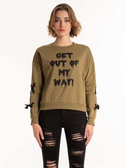 SWEATSHIRT WITH PRINT AND LACING DETAILS