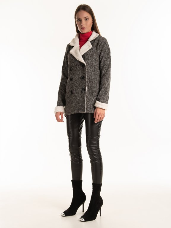 Oversized coat with pile details